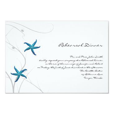 Beach Themed Blue Starfish with Silver Coral Wedding Rehearsal Card