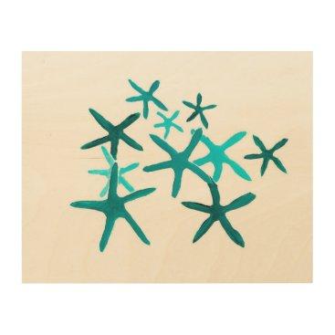 Art Themed Blue Starfish Wood Wall Art