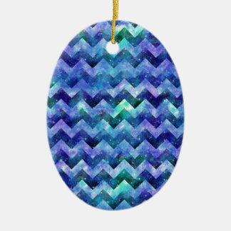 Blue Starry Galaxy Watercolor Chevron Ceramic Ornament