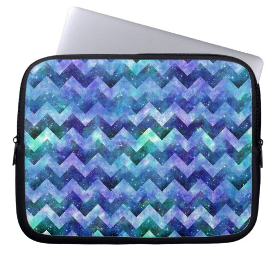 Blue Starry Galaxy Watercolor Chevron Laptop Sleeve
