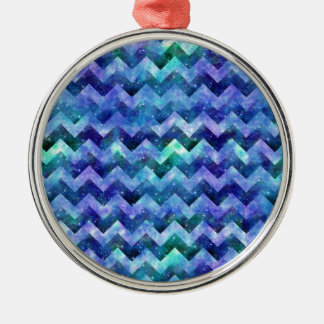 Blue Starry Galaxy Watercolor Chevron Metal Ornament