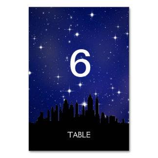 Blue Starry Night City Skyline Menu+Table Card