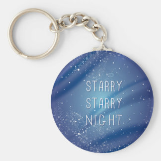 Blue Starry Night Dream Quote Keychain
