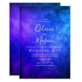 Silver and Royal Blue Wedding Invitation Template Starry Night