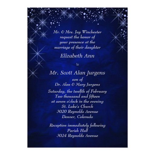 Blue Starry Night Formal Wedding Personalized Invitations