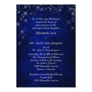 Blue Starry Night Formal Wedding Invitation