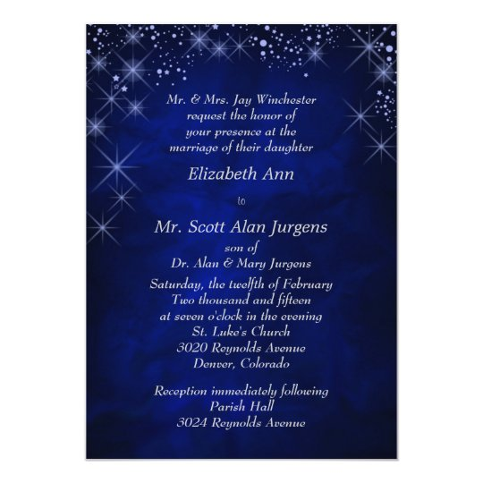 Blue Starry Night Formal Wedding Invitation | Zazzle