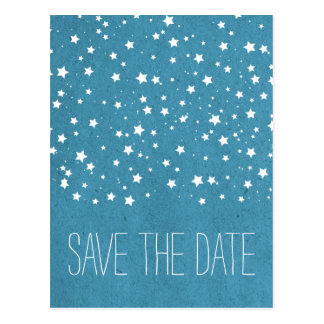 Blue Starry Night Save the Date Postcard
