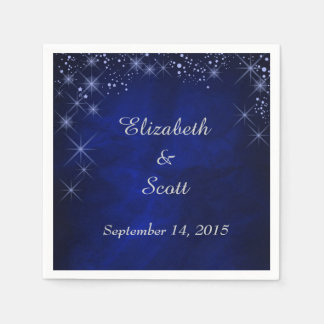 Blue Starry Night Wedding Paper Napkin