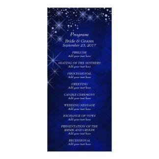 Blue Starry Night Wedding Program Rack Card