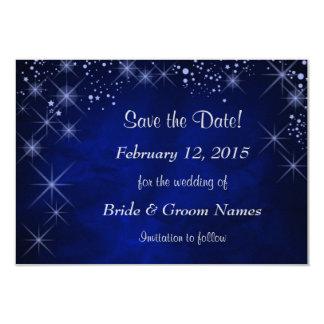 "Blue Starry Night Wedding Save the Date 3.5"" X 5"" Invitation Card"