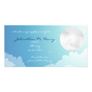 Blue Starry Sky New Baby Announcement Photo Cards