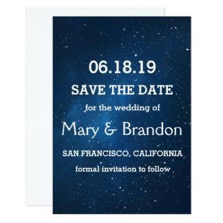 Blue Starry Universe Nebula Wedding Card