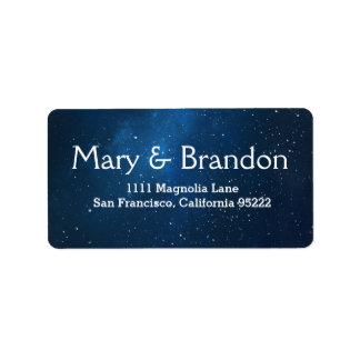 Blue Starry Universe Nebula Wedding Label