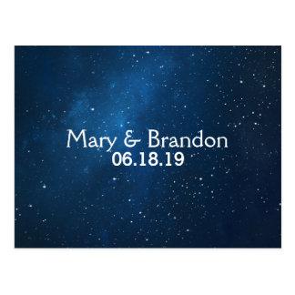 Blue Starry Universe Nebula Wedding Postcard