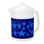 Blue Stars Abstract art Tea Pot