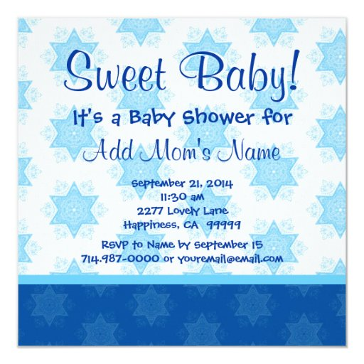 Blue Stars and Bow Boy Baby Shower B801 Card