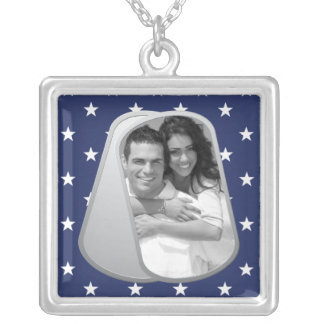 Blue Stars and Customizable Photo Dog Tags Silver Plated Necklace