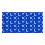 blue stars and moon patterns custom photo card