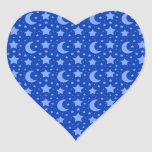 blue stars and moon patterns heart stickers