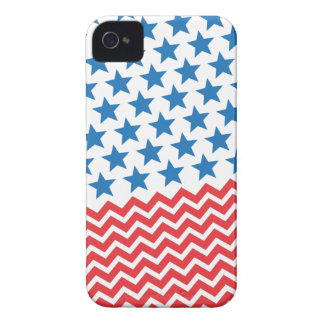 Blue stars and red white chevron zigzag stripes iPhone 4 case