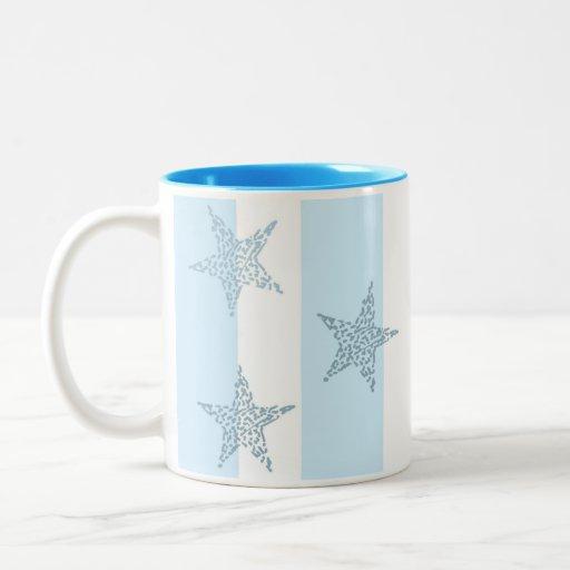 Blue Stars and Stripes Two-Tone Coffee Mug