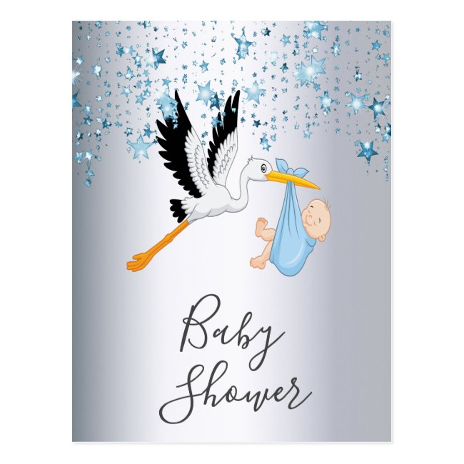 Blue stars baby boy silver shower invitation postcard