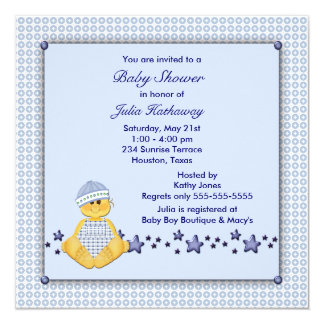 Blue Stars Blue Overalls Boy Shower 5.25x5.25 Square Paper Invitation Card