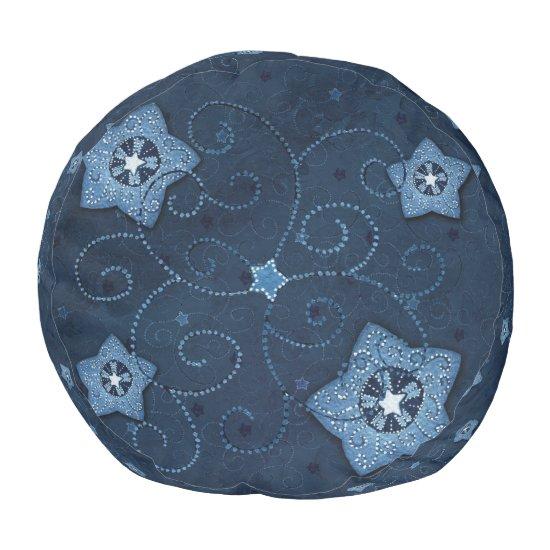 Blue Stars Christmas Pouf - Seat/Footrest