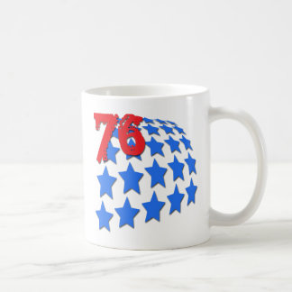 BLUE STARS & GRUNGE STYLE NUMBER 76 COFFEE MUG