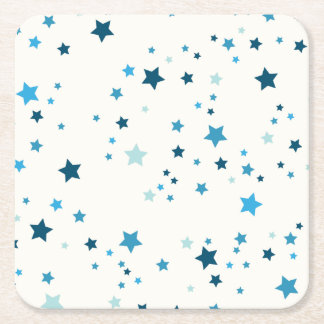 Blue stars in multiple shades and sizes - Reusable Square Paper Coaster