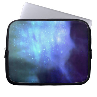 Blue stars in space laptop sleeve