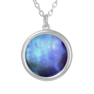 Blue stars in space round pendant necklace