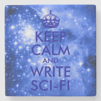 Blue Stars Keep Calm and Write Sci-Fi Stone Coaster
