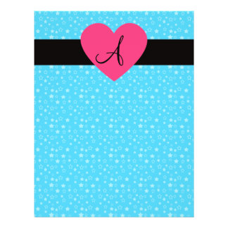 Blue stars monogram pink heart personalized flyer
