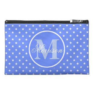 Blue Stars Monogrammed Travel Accessory Bag