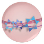 Blue Stars of David and Ribbons Decorative Plate