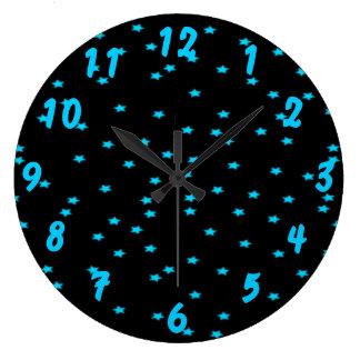 Blue Stars On Custom Color Large Clock