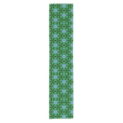 Blue Stars on Green Short Table Runner