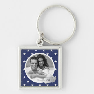 Blue Stars Pattern Customizable Photo & Dog Tags Keychain
