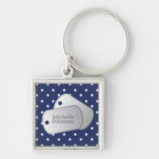 Blue Stars Pattern Photo & Dog Tags Keychain