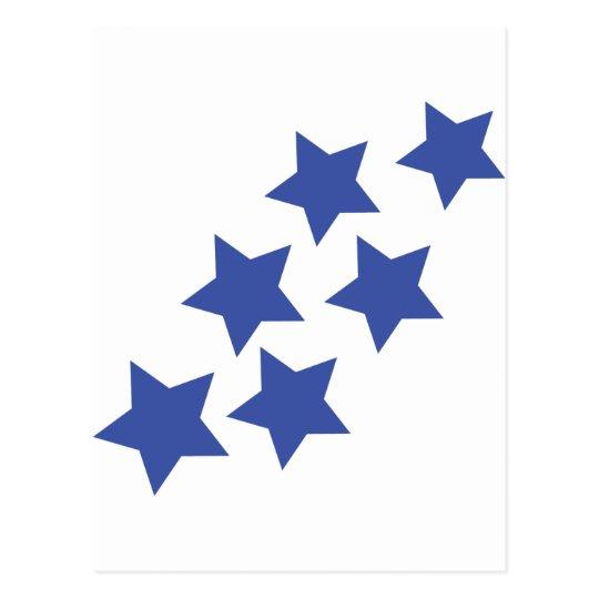 blue stars rain postcard