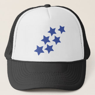 blue stars rain trucker hat