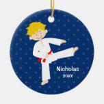 Blue Stars Red Belt Taekwondo Boy Personalized Christmas Tree Ornament