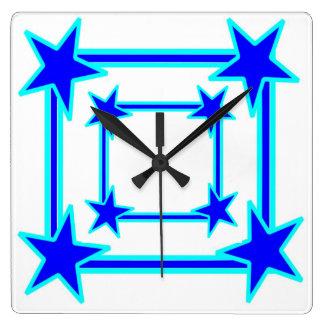BLUE STARS SQUARE WALL CLOCK