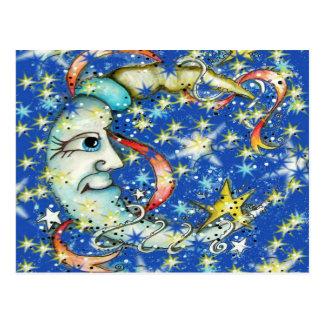 Blue Stars Sun and Moon Design Postcard