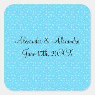 Blue stars wedding favors square sticker