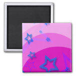 Blue Stars with Pink Refrigerator Magnets