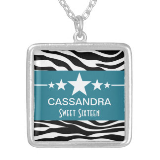 Blue Stars Zebra Print Sweet 16 Necklace