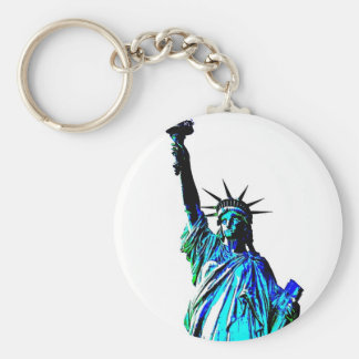 Blue Statue of Lady Liberty Keychain